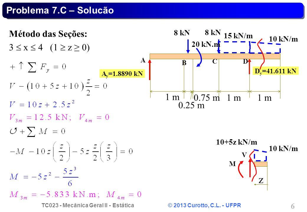 z Problema 7.C – Solucão Método das Seções: 3  x  4 (1  z ≥ 0) 1 m