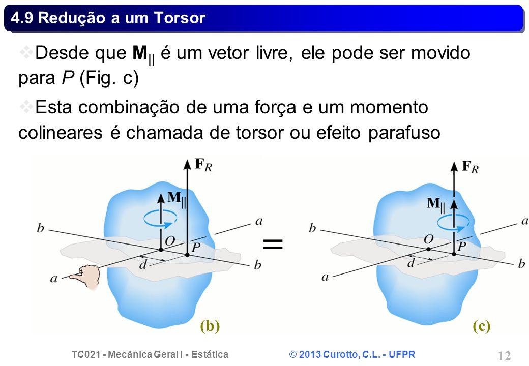 Desde que M|| é um vetor livre, ele pode ser movido para P (Fig. c)