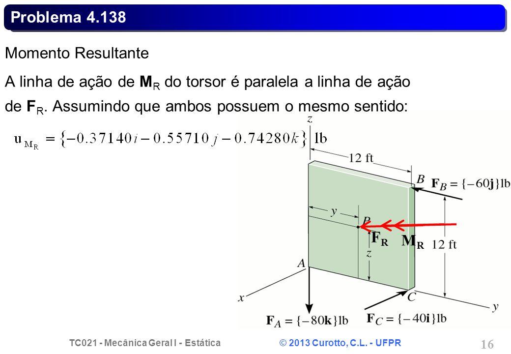 Problema 4.138 Momento Resultante. A linha de ação de MR do torsor é paralela a linha de ação de FR. Assumindo que ambos possuem o mesmo sentido: