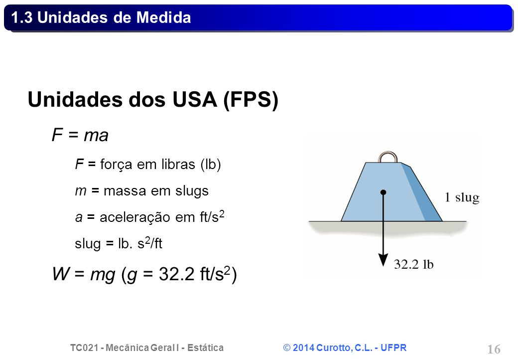 Unidades dos USA (FPS) F = ma W = mg (g = 32.2 ft/s2)