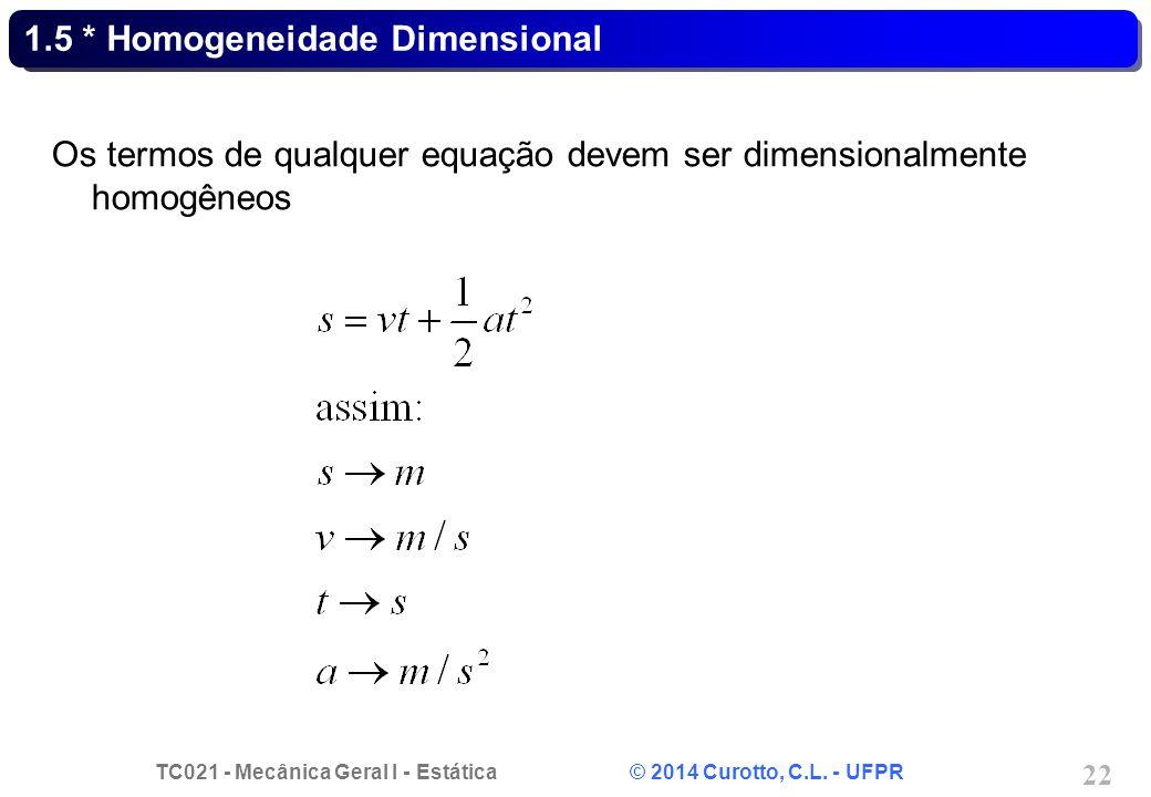 1.5 * Homogeneidade Dimensional