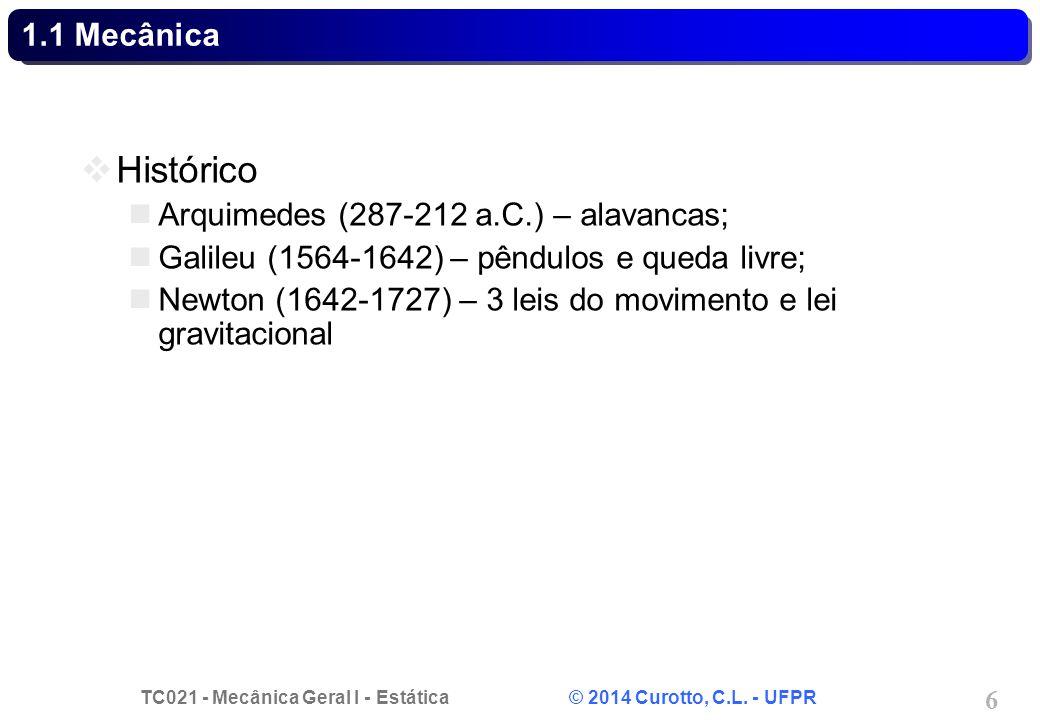 Histórico 1.1 Mecânica Arquimedes (287-212 a.C.) – alavancas;