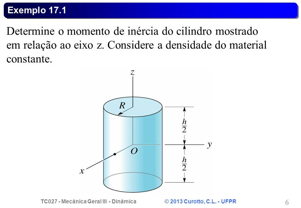 Exemplo 17.1 Determine o momento de inércia do cilindro mostrado em relação ao eixo z.