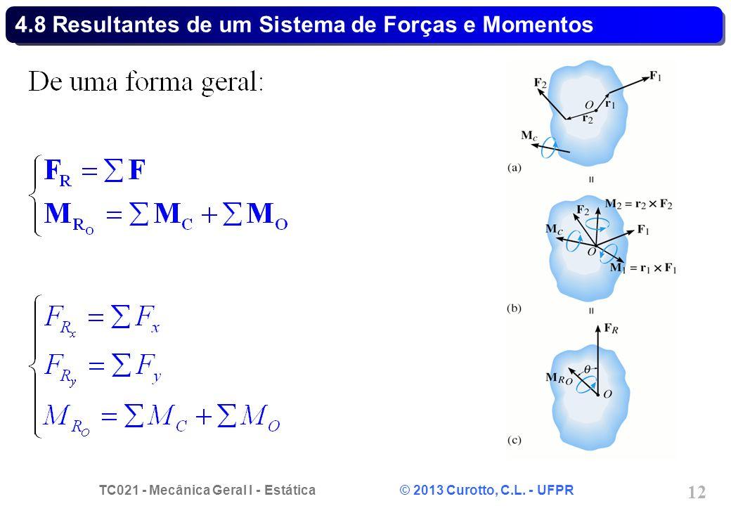 4.8 Resultantes de um Sistema de Forças e Momentos