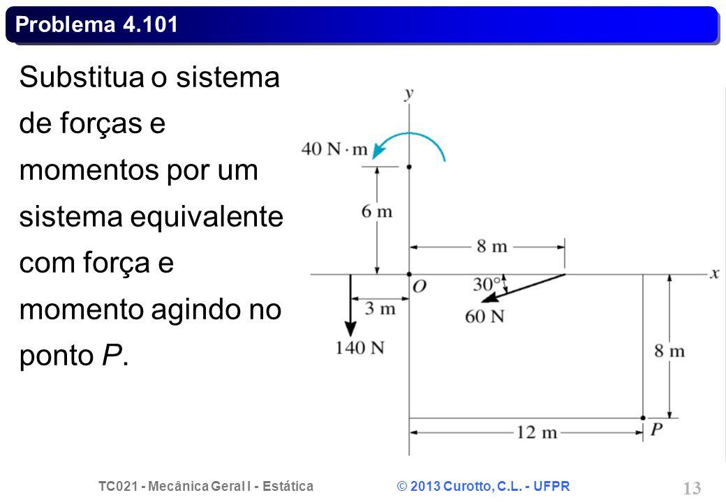 Problema 4.101 Substitua o sistema de forças e momentos por um sistema equivalente com força e momento agindo no ponto P.