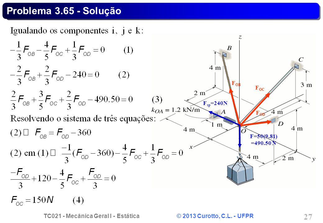 Problema 3.65 - Solução Fsp=240N FOB FOC FOD F=50(9.81) =490.50 N