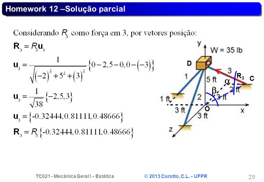 Homework 12 –Solução parcial