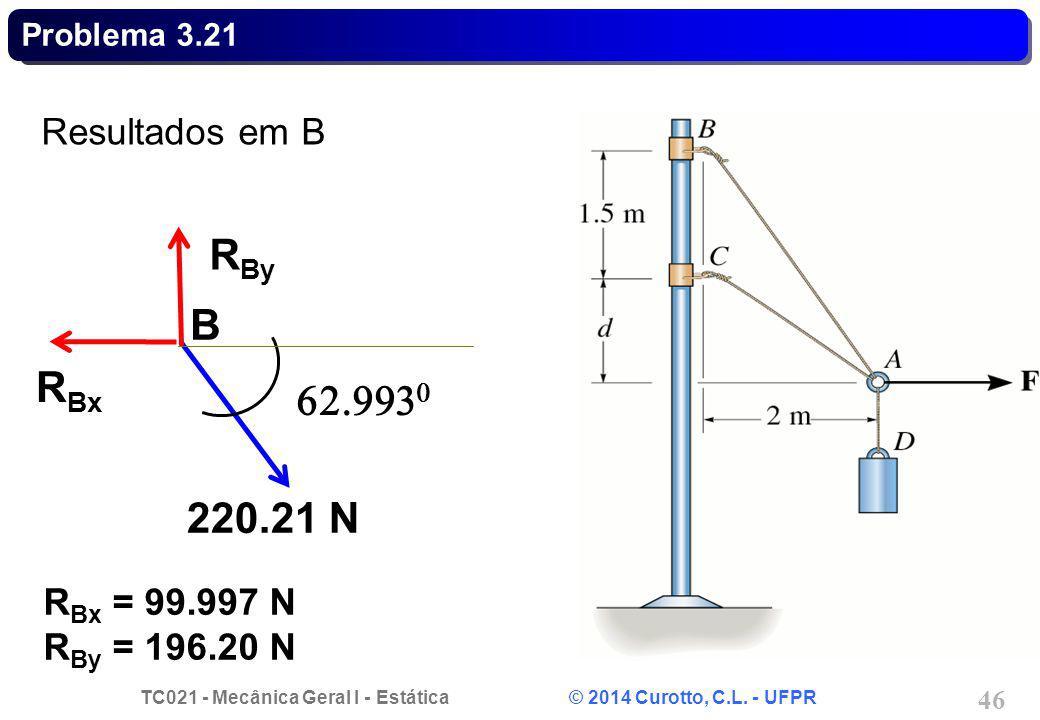RBy B RBx 62.9930 220.21 N Resultados em B RBx = 99.997 N