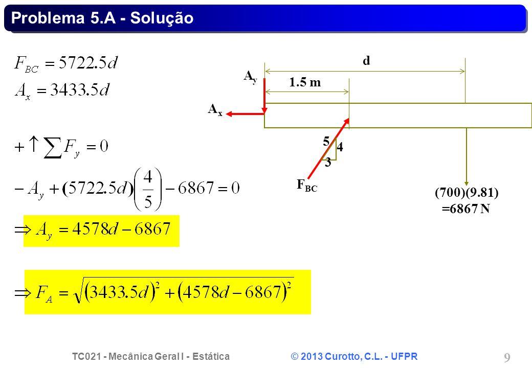 Problema 5.A - Solução d 3 5 4 FBC Ax Ay (700)(9.81) =6867 N 1.5 m