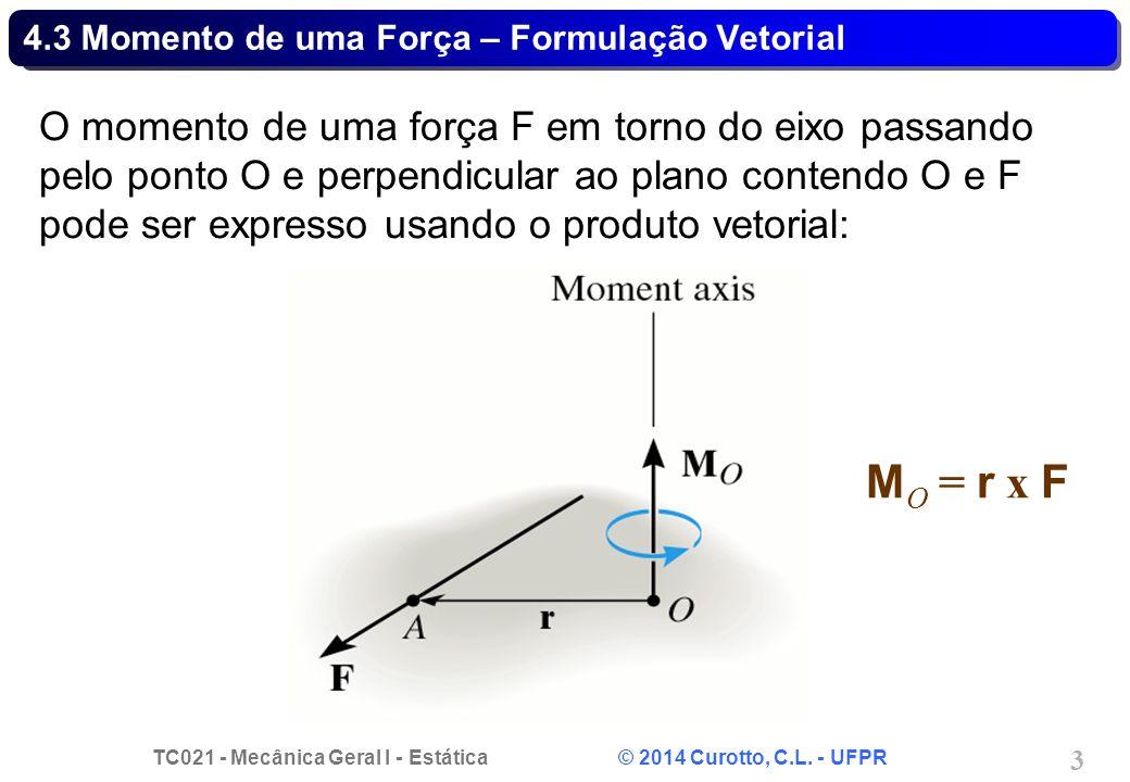 4.3 Momento de uma Força – Formulação Vetorial
