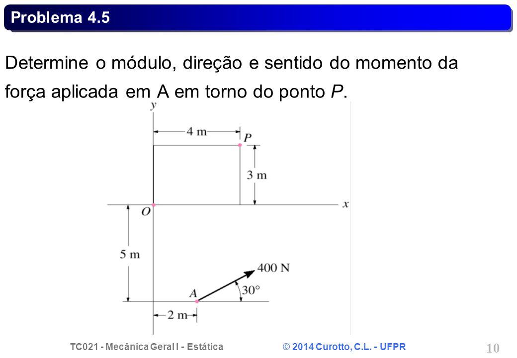 Problema 4.5 Determine o módulo, direção e sentido do momento da força aplicada em A em torno do ponto P.