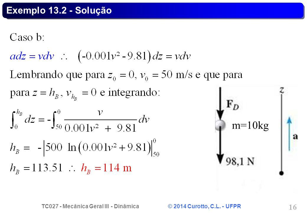 Exemplo 13.2 - Solução m=10kg