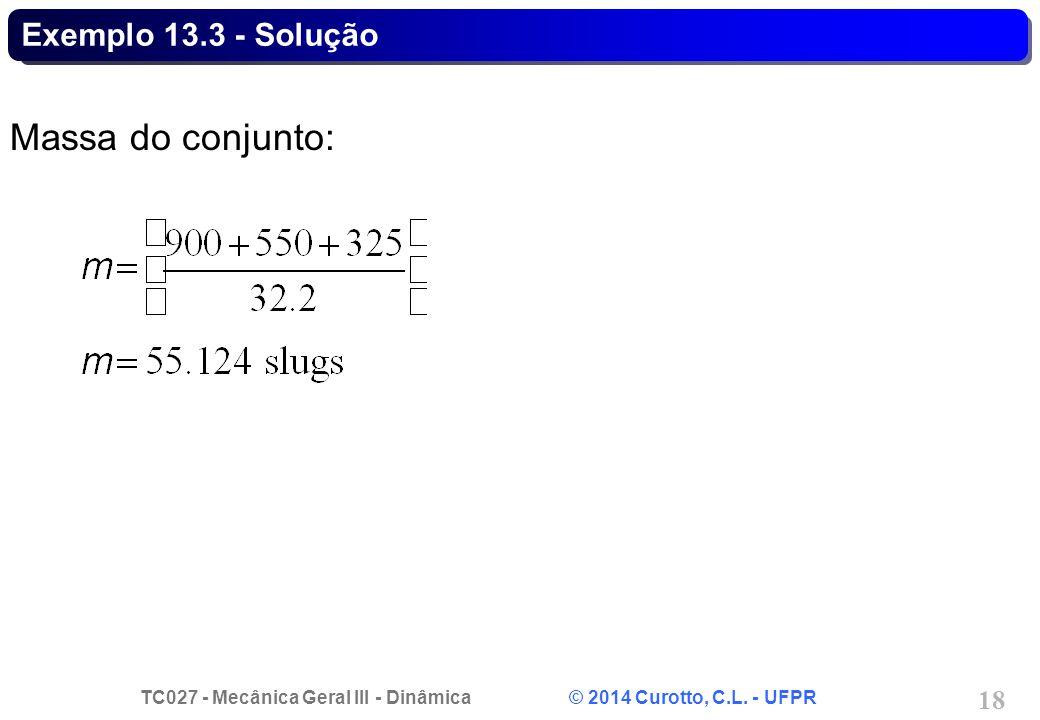 Exemplo 13.3 - Solução Massa do conjunto: