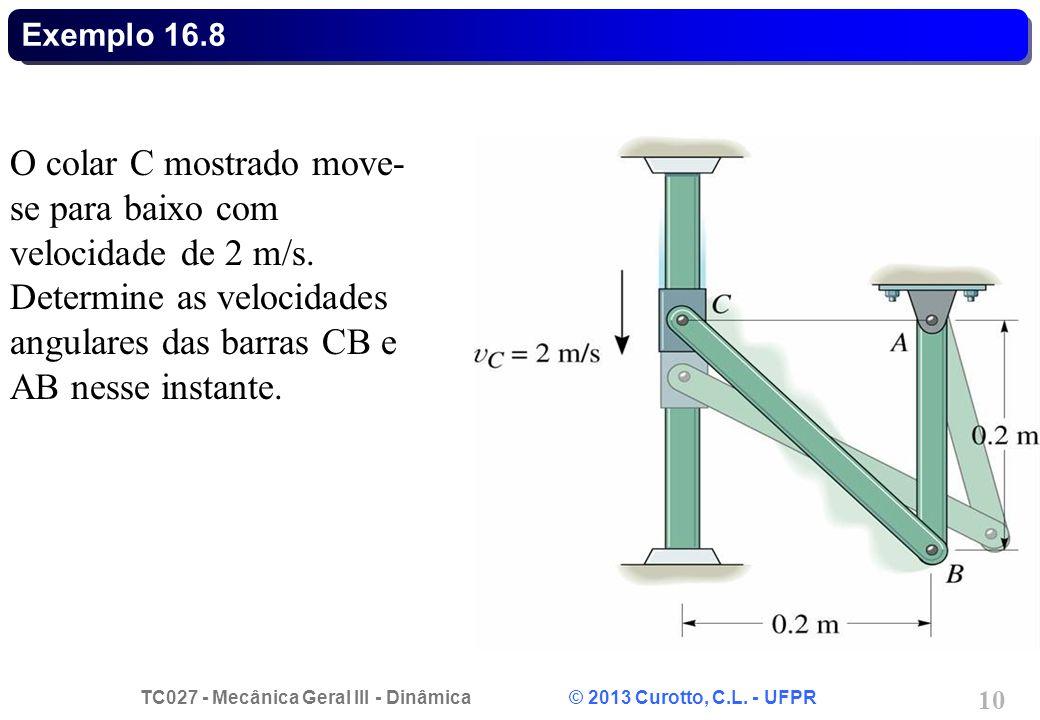 Exemplo 16.8 O colar C mostrado move-se para baixo com velocidade de 2 m/s.