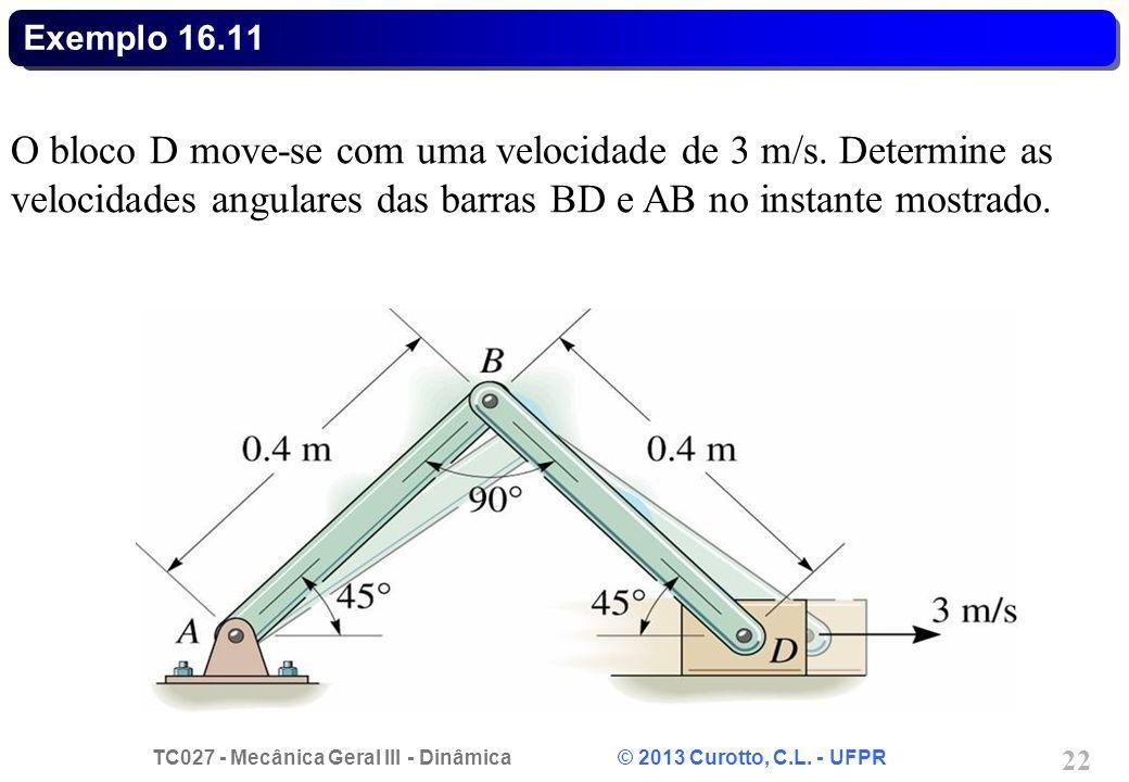 Exemplo 16.11 O bloco D move-se com uma velocidade de 3 m/s.