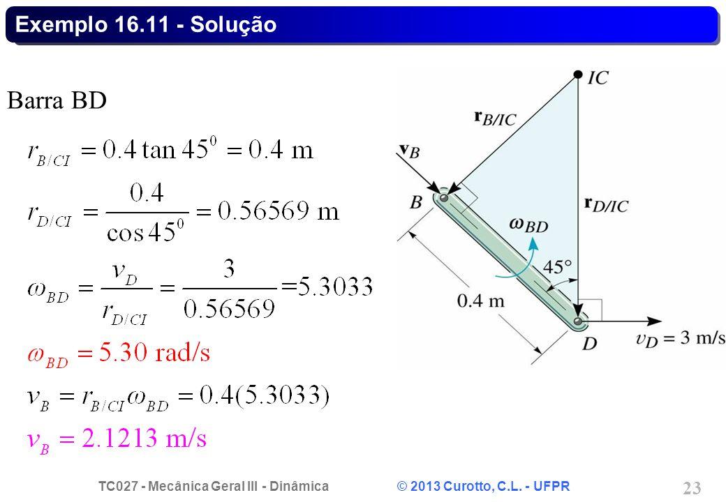 Exemplo 16.11 - Solução Barra BD