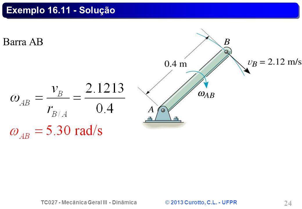 Exemplo 16.11 - Solução Barra AB