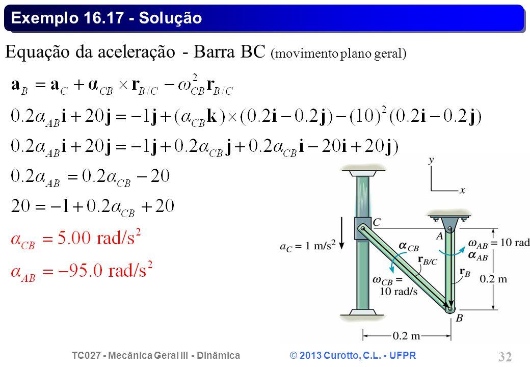 Equação da aceleração - Barra BC (movimento plano geral)