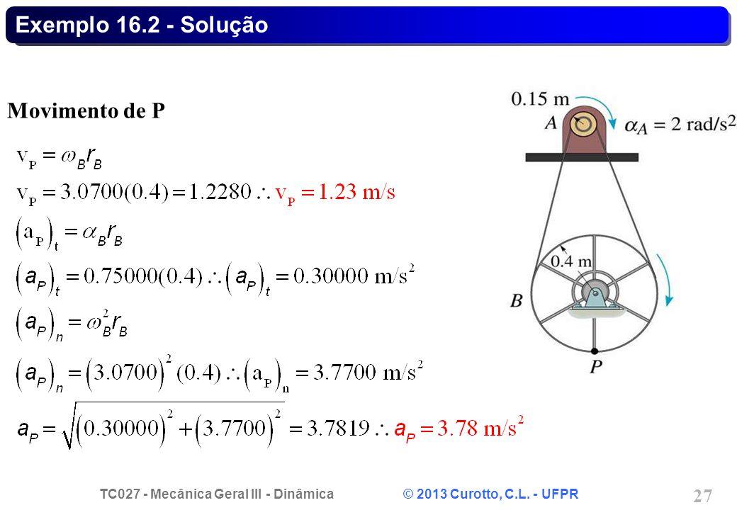 Exemplo 16.2 - Solução Movimento de P