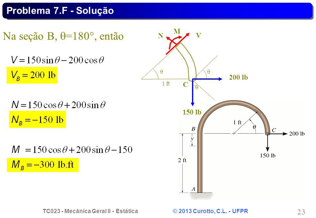 Na seção B, =180, então Problema 7.F - Solução M N V 200 lb C 150 lb