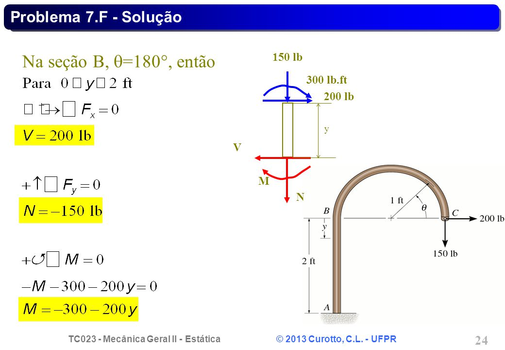 Na seção B, =180, então Problema 7.F - Solução 150 lb 300 lb.ft