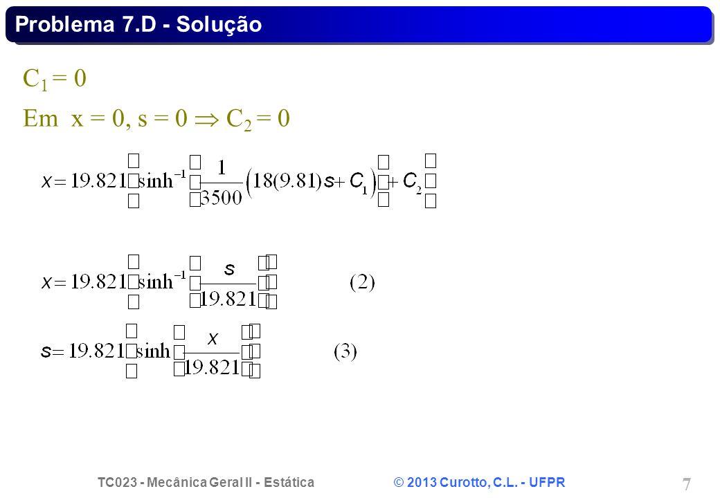 Problema 7.D - Solução C1 = 0 Em x = 0, s = 0  C2 = 0