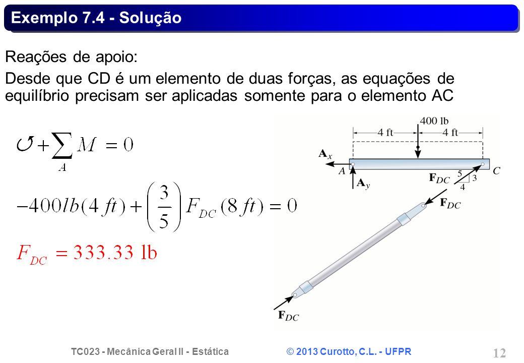 Exemplo 7.4 - Solução Reações de apoio: