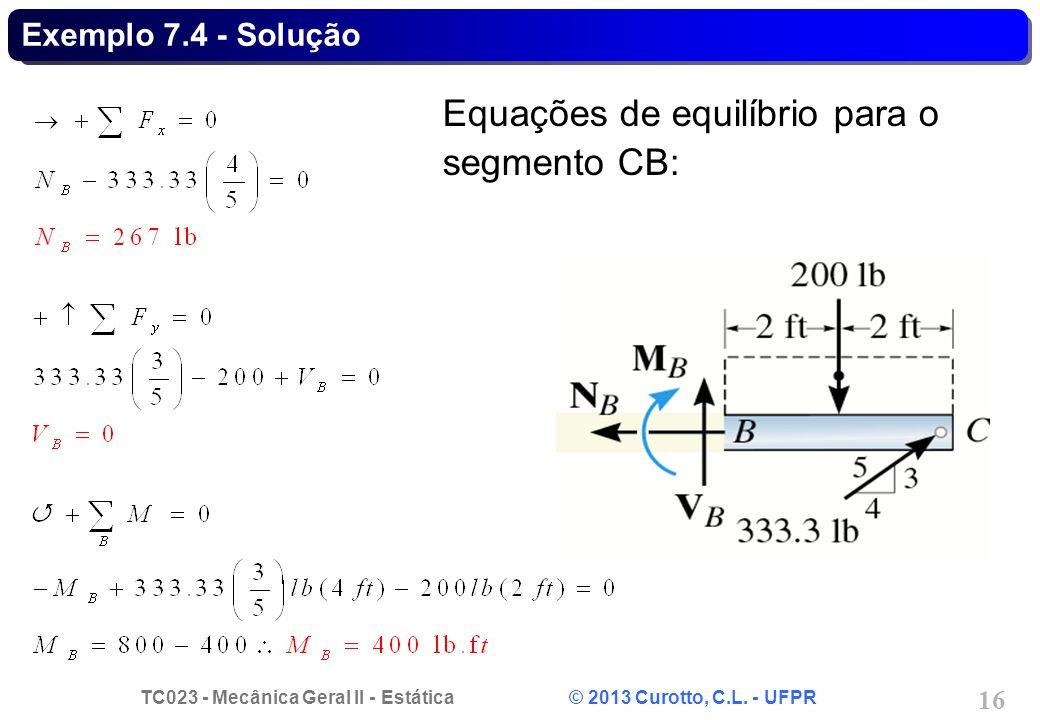 Equações de equilíbrio para o segmento CB: