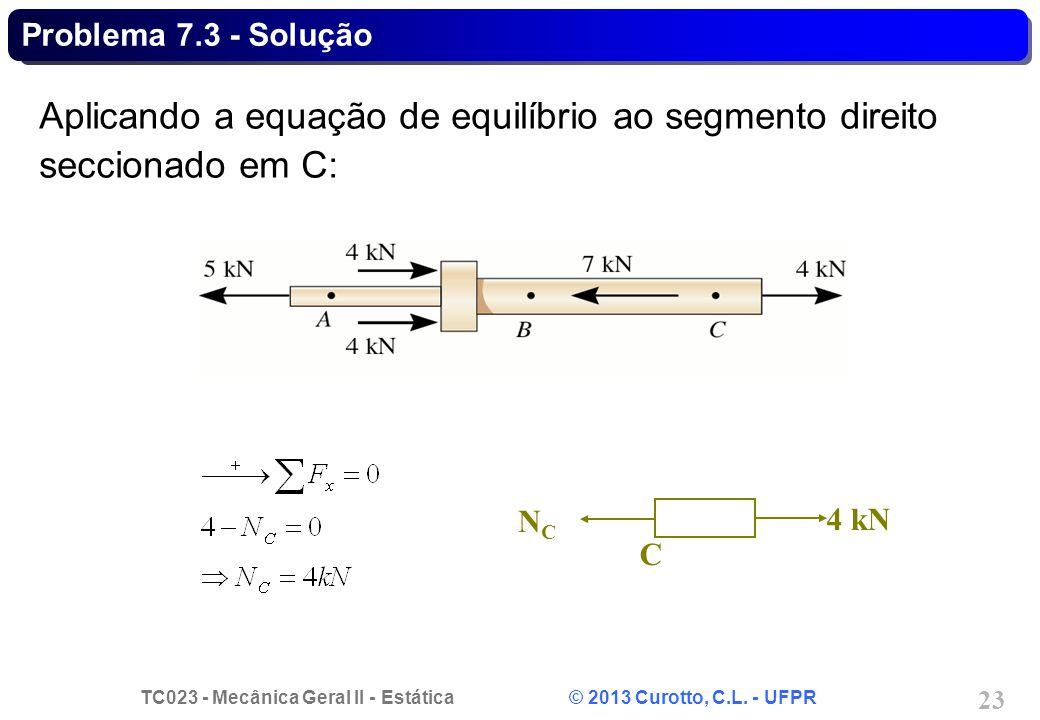 Aplicando a equação de equilíbrio ao segmento direito seccionado em C: