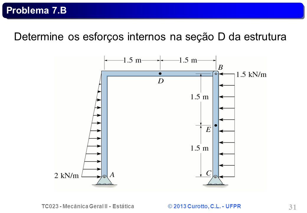 Determine os esforços internos na seção D da estrutura