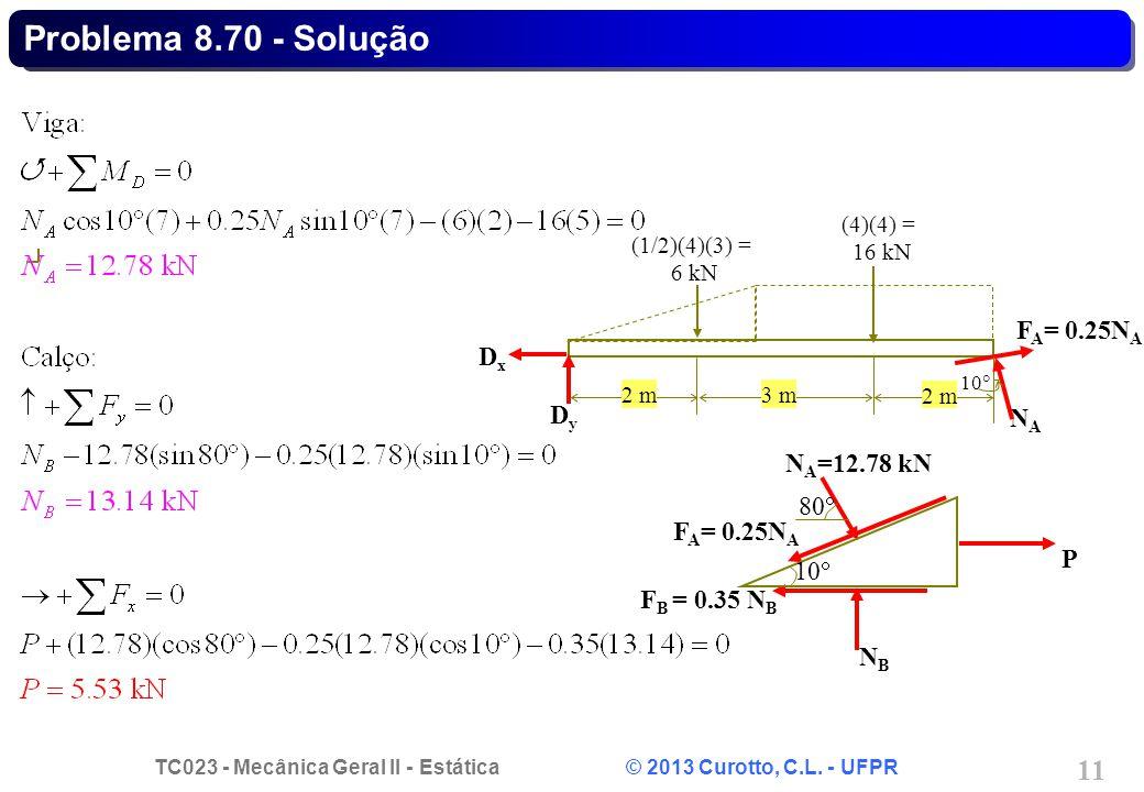 Problema 8.70 - Solução FA= 0.25NA Dx Dy NA NA=12.78 kN 80 FA= 0.25NA