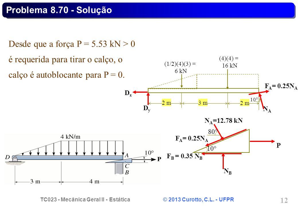 Problema 8.70 - Solução Desde que a força P = 5.53 kN > 0 é requerida para tirar o calço, o calço é autoblocante para P = 0.