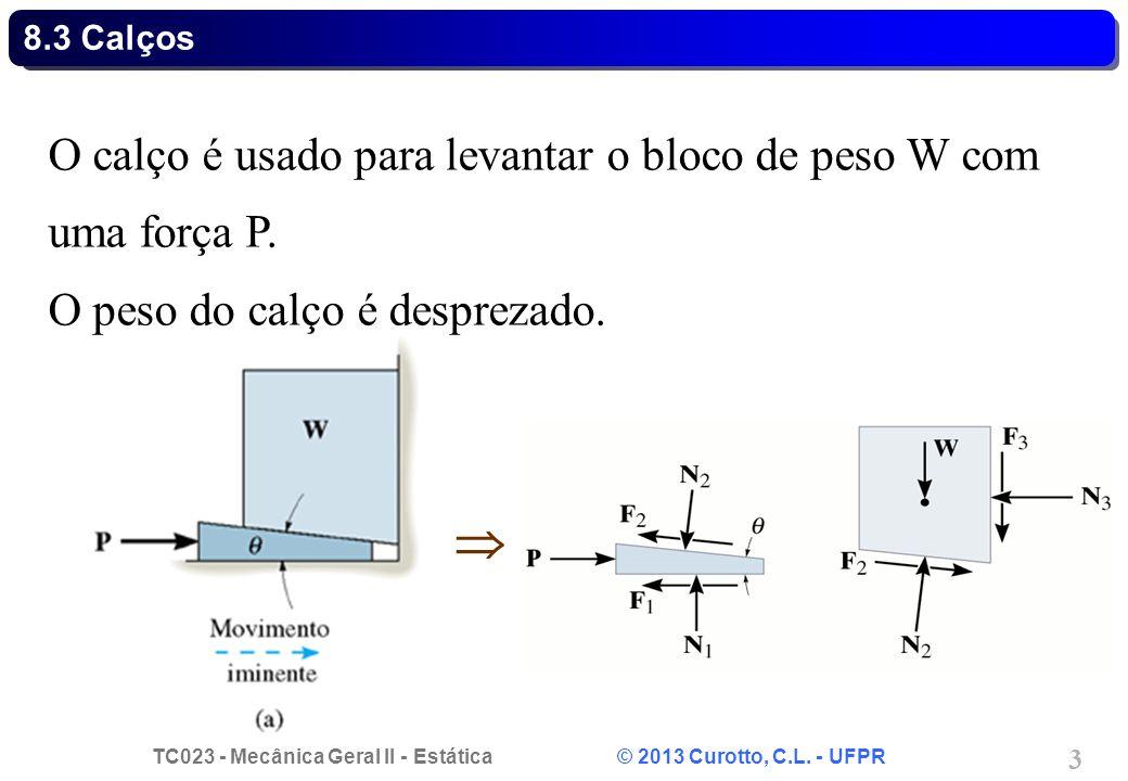  O calço é usado para levantar o bloco de peso W com uma força P.