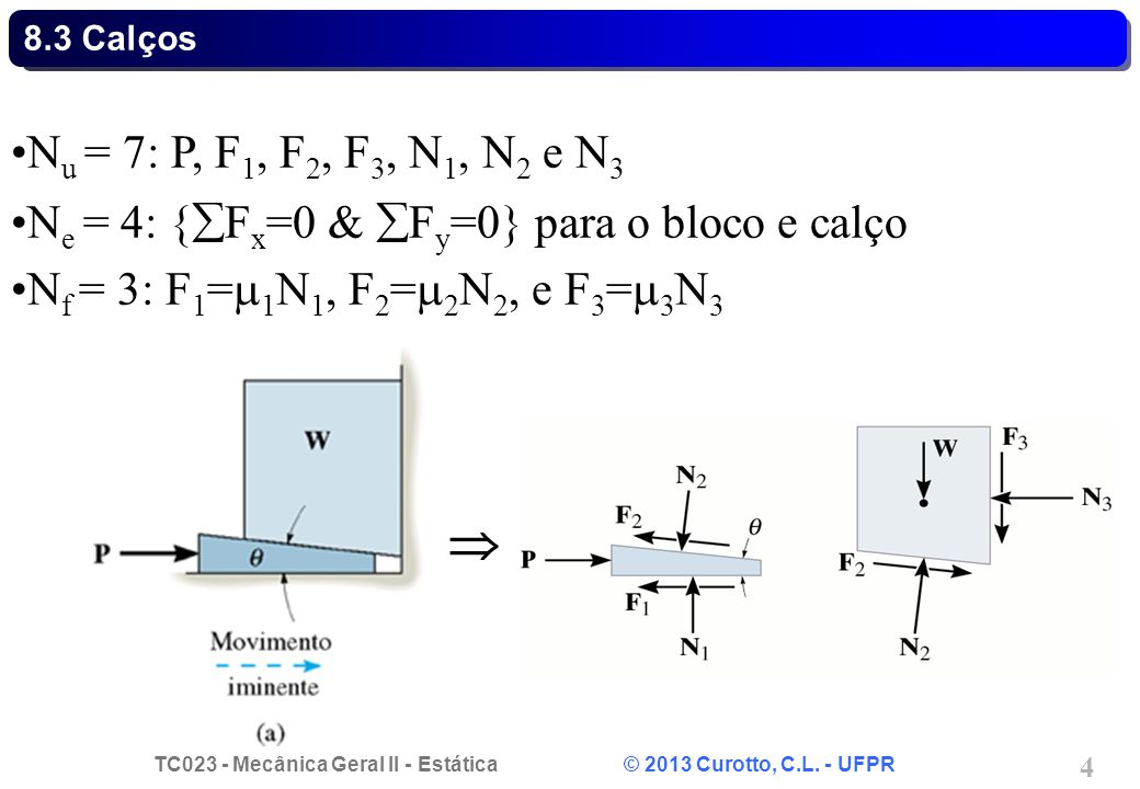 8.3 Calços Nu = 7: P, F1, F2, F3, N1, N2 e N3. Ne = 4: {Fx=0 & Fy=0} para o bloco e calço. Nf = 3: F1=1N1, F2=2N2, e F3=3N3.