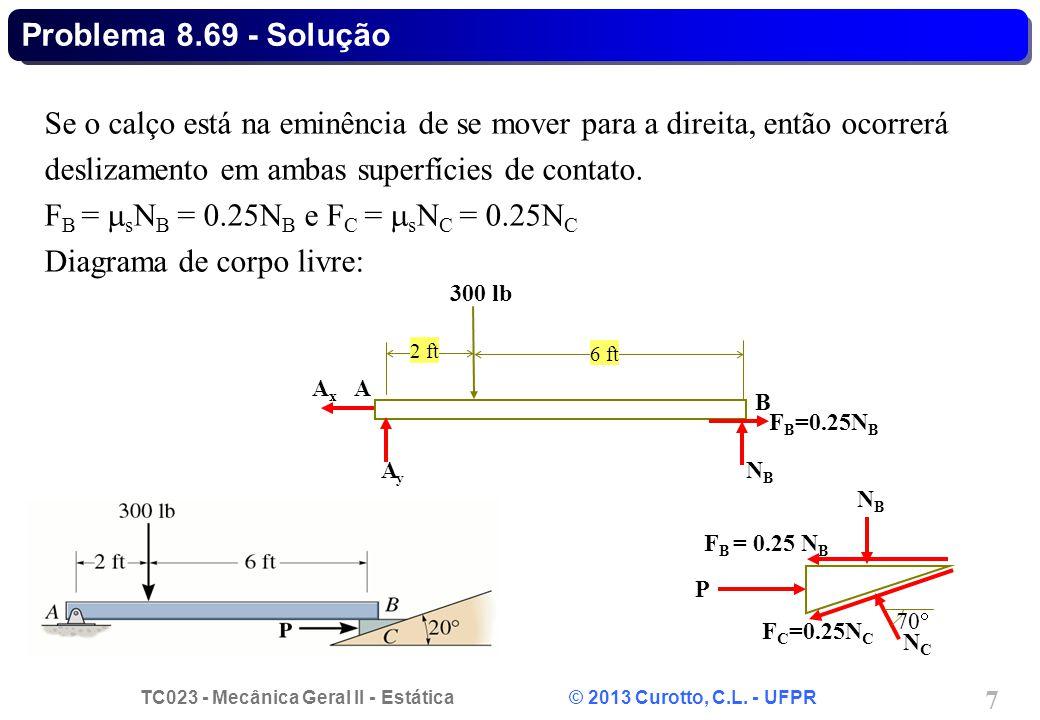 FB = sNB = 0.25NB e FC = sNC = 0.25NC Diagrama de corpo livre: