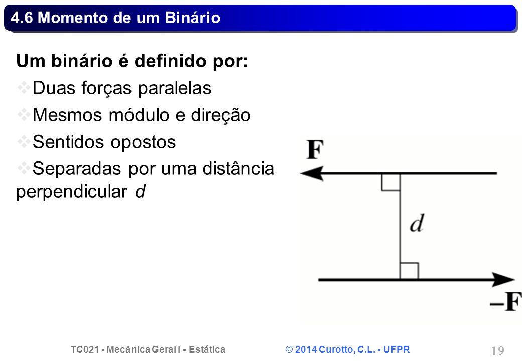 Um binário é definido por: Duas forças paralelas