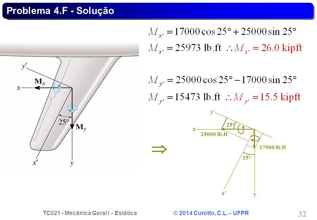 Problema 4.F - Solução y y x x 25° 25000 lb.ft 17000 lb.ft 