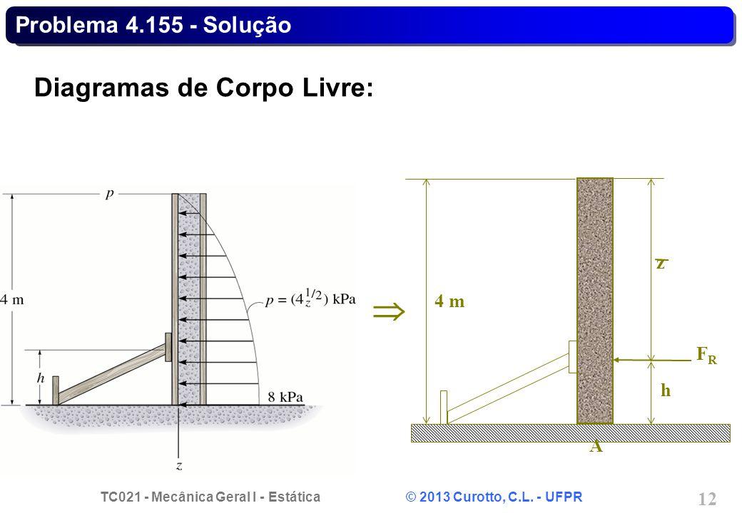 Problema 4.155 - Solução Diagramas de Corpo Livre: h z FR A 4 m 