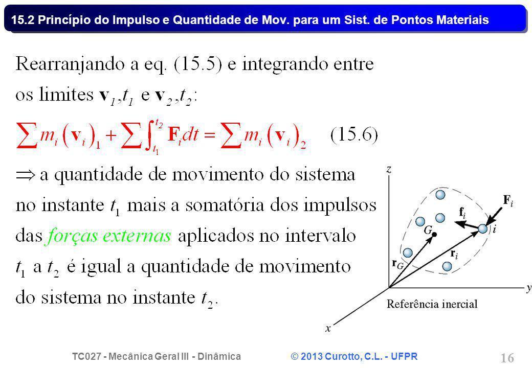 15. 2 Princípio do Impulso e Quantidade de Mov. para um Sist