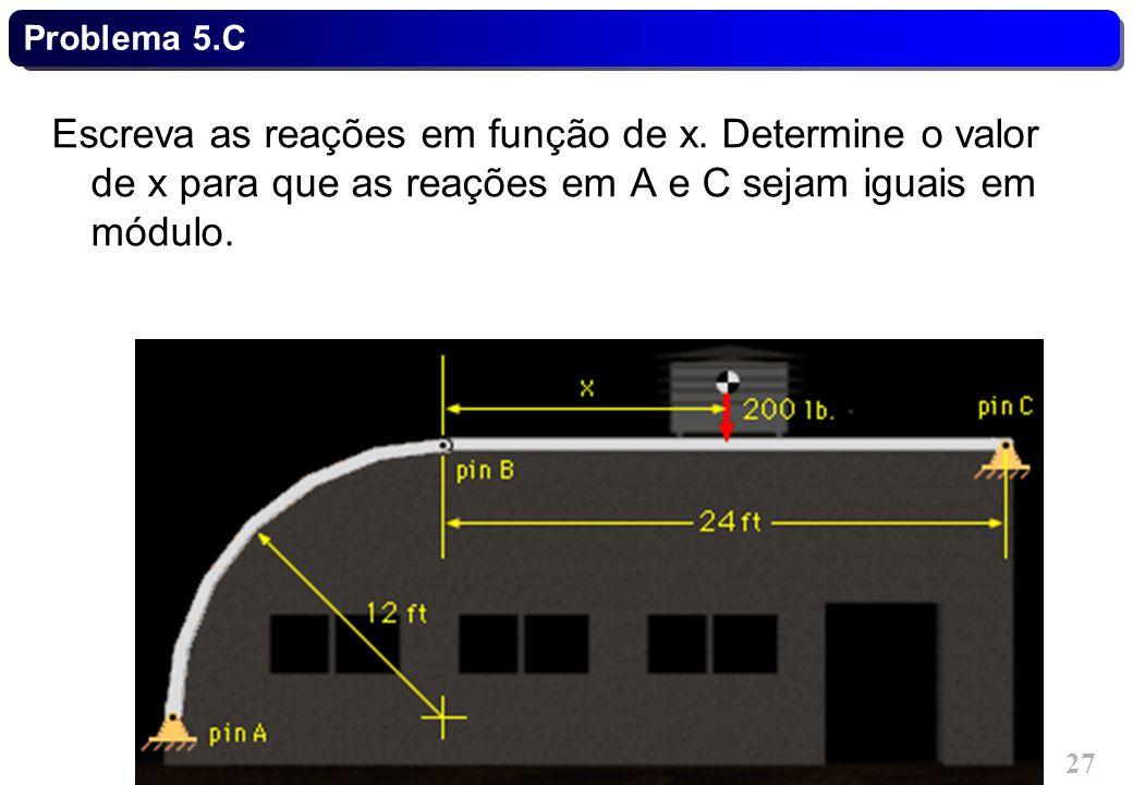 Problema 5.C Escreva as reações em função de x.