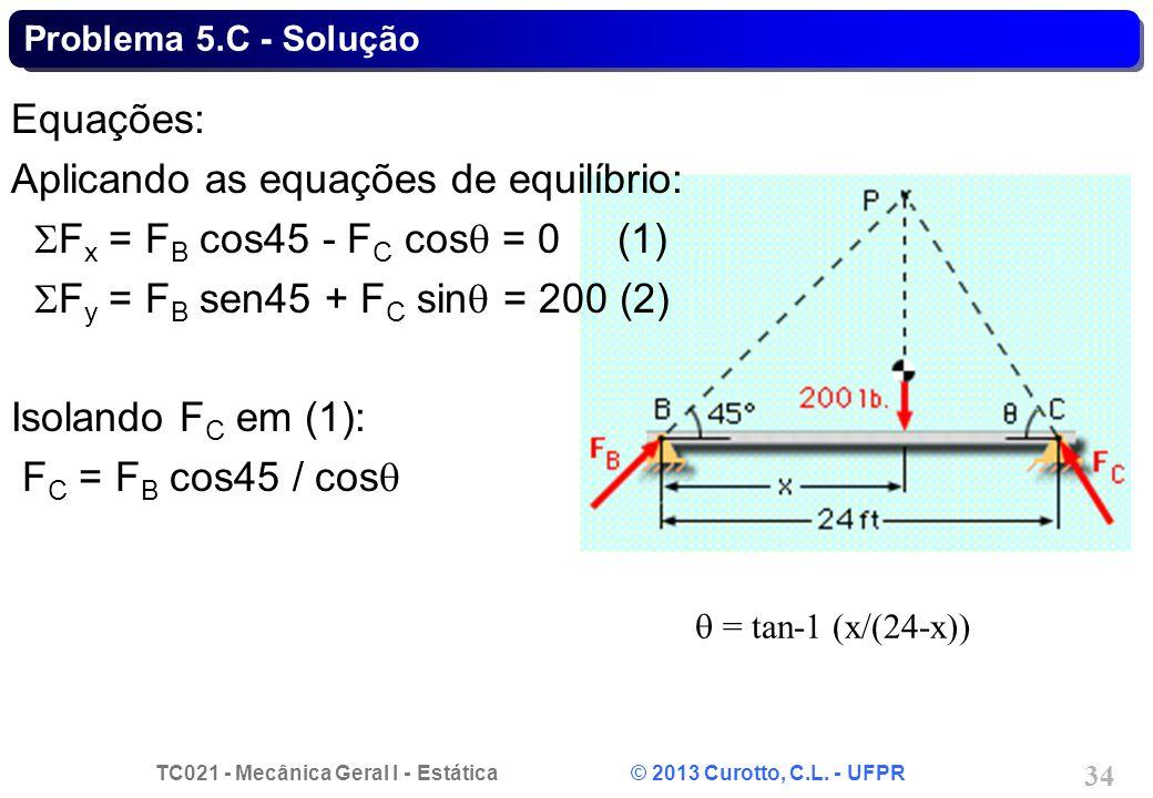 Aplicando as equações de equilíbrio: SFx = FB cos45 - FC cosq = 0 (1)