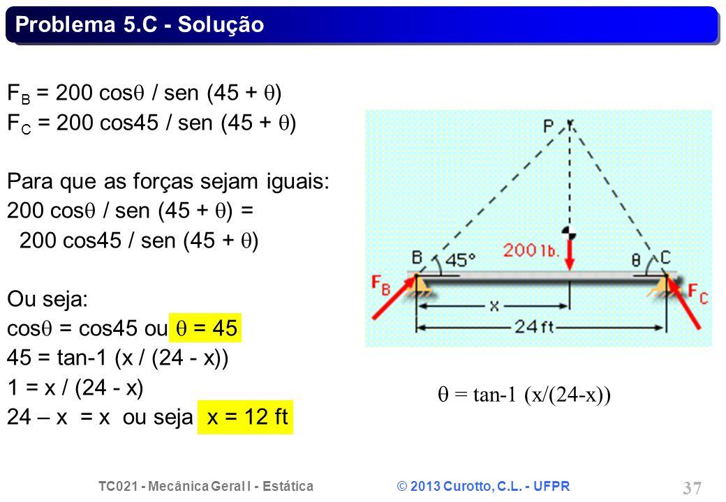 Problema 5.C - Solução FB = 200 cosq / sen (45 + q) FC = 200 cos45 / sen (45 + q) Para que as forças sejam iguais: