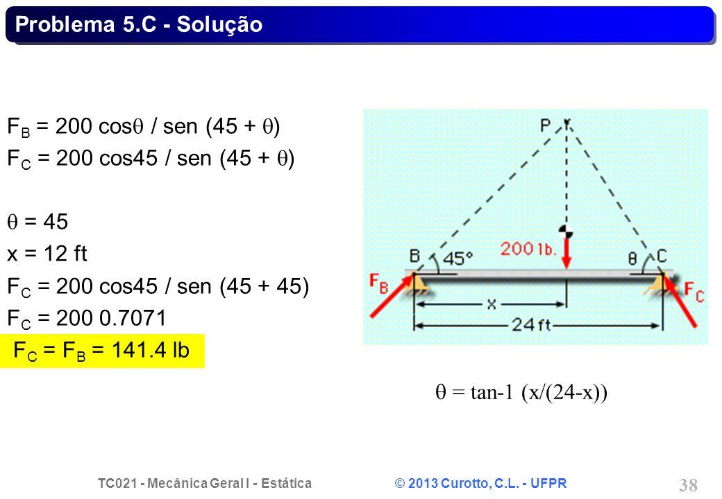 Problema 5.C - Solução FB = 200 cosq / sen (45 + q) FC = 200 cos45 / sen (45 + q) q = 45. x = 12 ft.