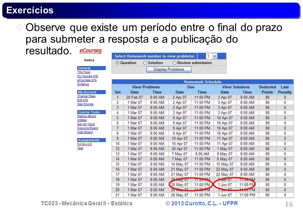 Exercícios Observe que existe um período entre o final do prazo para submeter a resposta e a publicação do resultado.