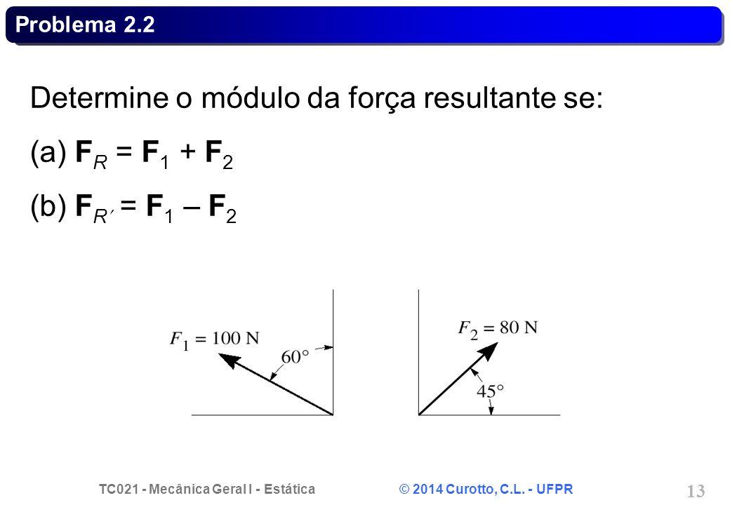 Determine o módulo da força resultante se: (a) FR = F1 + F2