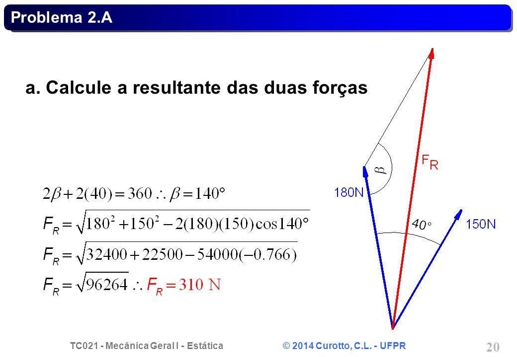 a. Calcule a resultante das duas forças