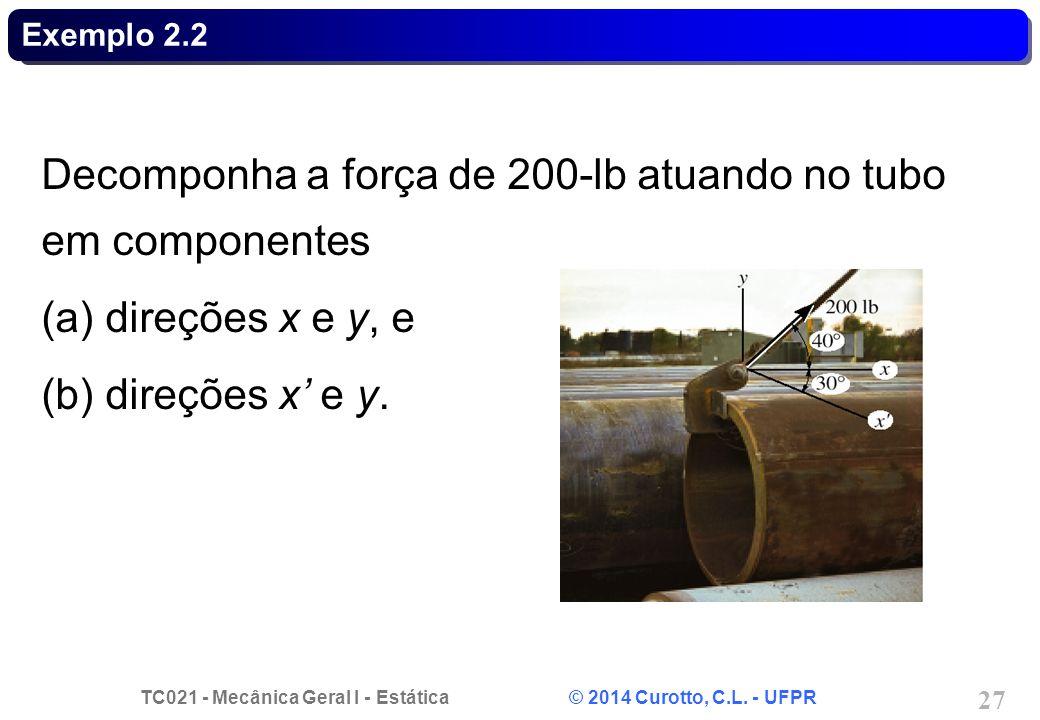 Decomponha a força de 200-lb atuando no tubo em componentes