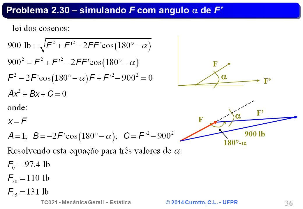 Problema 2.30 – simulando F com angulo a de F'