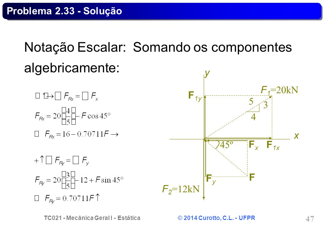 Notação Escalar: Somando os componentes algebricamente: