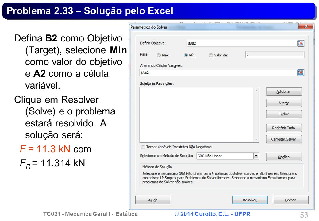 Problema 2.33 – Solução pelo Excel